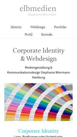 Vorschau der mobilen Webseite elbmedien.de, Elbmedien, Stephanie Wiermann