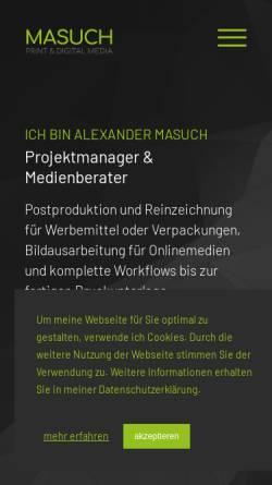 Vorschau der mobilen Webseite www.alexandermasuch.de, Kreative Ideen für Web & Print, Alexander Masuch