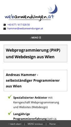 Vorschau der mobilen Webseite webanwendungen.at, Andreas Hammer