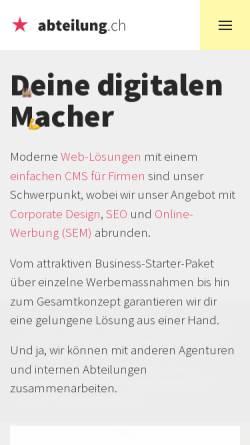 Vorschau der mobilen Webseite www.abteilung.ch, Abteilung für Gestaltung, Pascal Widmer