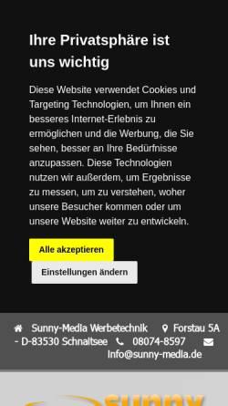 Vorschau der mobilen Webseite www.sunny-media.de, Sunny Media