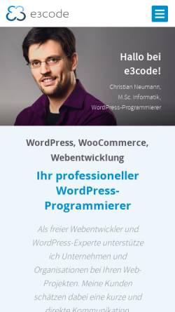 Vorschau der mobilen Webseite www.e3code.de, E3Code, Christian Neumann