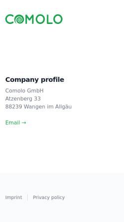 Vorschau der mobilen Webseite www.comolo.de, Comolo GmbH