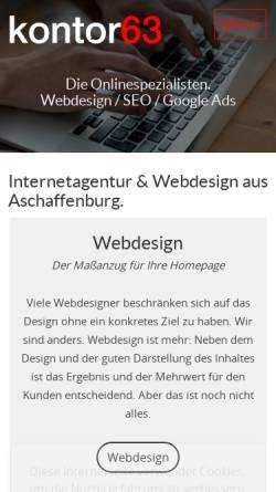 Vorschau der mobilen Webseite kontor63.de, kontor63 Internetagentur