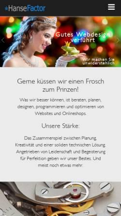 Vorschau der mobilen Webseite www.hansefactor.de, Hanse Factor
