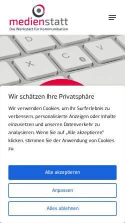 Vorschau der mobilen Webseite www.medienstatt.de, Medienstatt - Die Werkstatt für Kommunikation