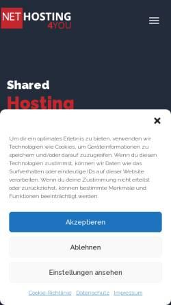Vorschau der mobilen Webseite www.nethosting4you.de, Nethosting4You - Professional Hosting Solutions
