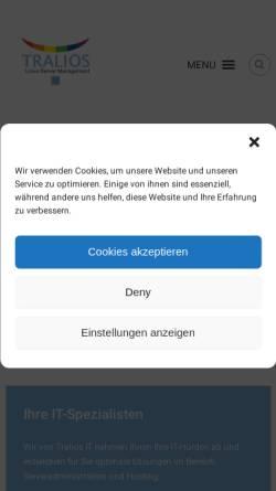 Vorschau der mobilen Webseite www.tralios.de, Tralios