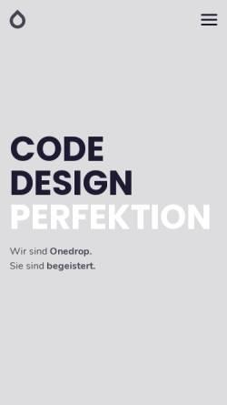 Vorschau der mobilen Webseite 1drop.de, Onedrop Solutions GmbH