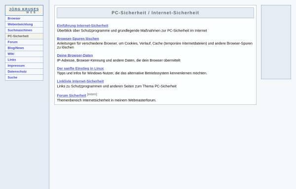 Vorschau von www.joergkrusesweb.de, Internet-Sicherheit