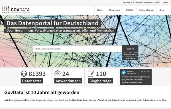 Vorschau von www.govdata.de, Govdata