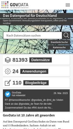 Vorschau der mobilen Webseite www.govdata.de, Govdata