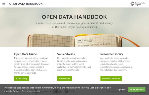Vorschau von opendatahandbook.org, Das Open Data Handbuch