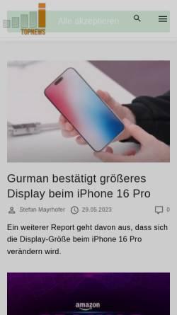 Vorschau der mobilen Webseite itopnews.de, Online Portal für Apple Produkte