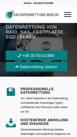 Vorschau der mobilen Webseite www.030-datenrettung.de, Schauerhammer IT Cons.