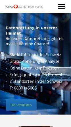 Vorschau der mobilen Webseite www.datenrettung-festplatte.ch, MPD Datenrettung Inh. Ayat Marashi