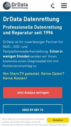 Vorschau der mobilen Webseite www.drdata.de, DrData Datenrettung OHG