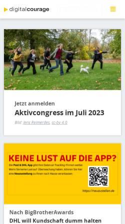 Vorschau der mobilen Webseite digitalcourage.de, Digitalcourage e.V.
