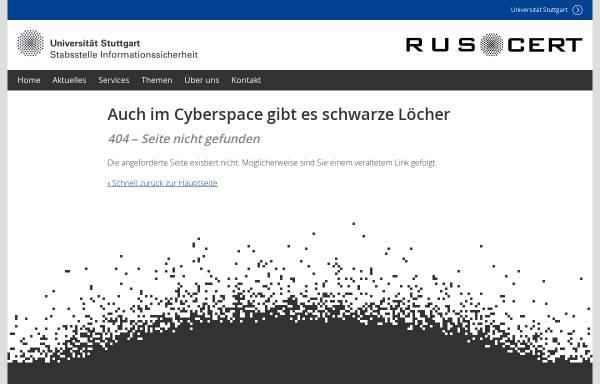 Vorschau von cert.uni-stuttgart.de, RUS-CERT - Sicherheitshinweise zu Microsoft-Windows-Betriebssystemen