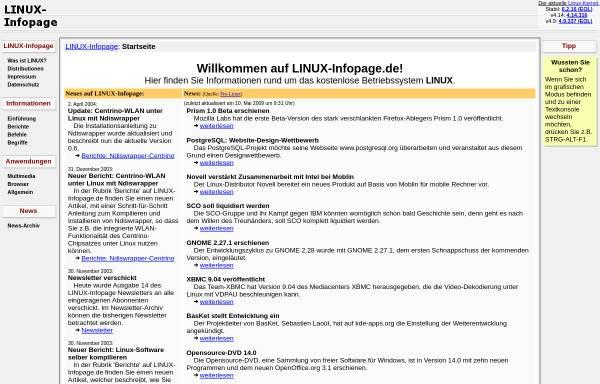 Vorschau von linux-infopage.de, LINUX-Infopage