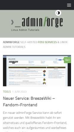 Vorschau der mobilen Webseite adminforge.de, AdminForge