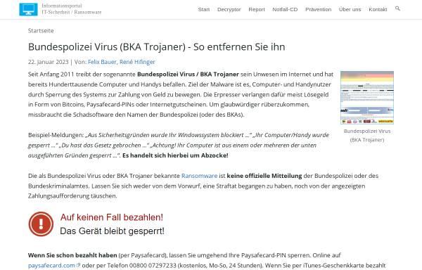 Vorschau von www.bundespolizei-virus.de, Bundespolizei-Virus.de - Ransomware-Viren