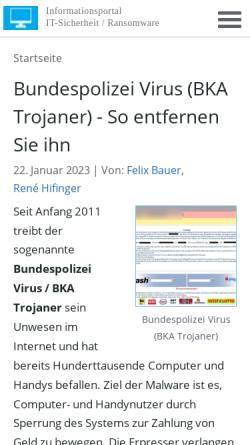 Vorschau der mobilen Webseite www.bundespolizei-virus.de, Bundespolizei-Virus.de - Ransomware-Viren