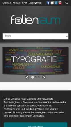 Vorschau der mobilen Webseite folienraum.de, Folienraum