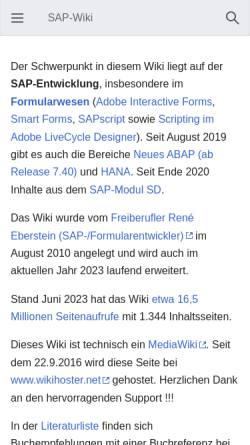 Vorschau der mobilen Webseite www.berater-wiki.de, SAP-Wiki
