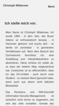 Vorschau der mobilen Webseite www.wildensee.de, Christoph Wildensee