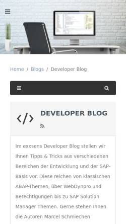 Vorschau der mobilen Webseite www.exxsens.de, Blog: exxsens GmbH - Developer Blog