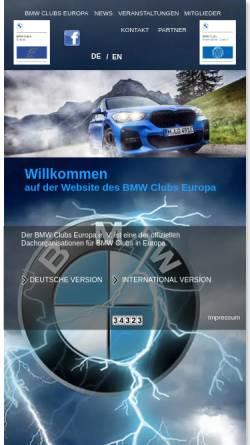 Vorschau der mobilen Webseite www.bmw-clubs-europa.org, BMW Clubs Europa e.V.