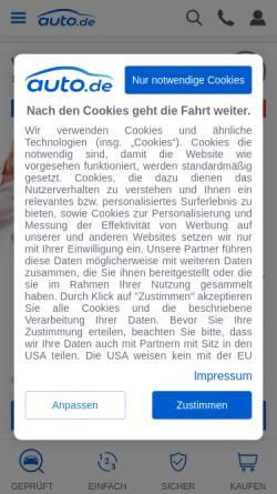 Vorschau der mobilen Webseite www.auto.de, Auto.de