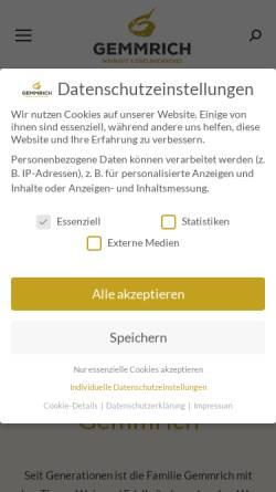 Vorschau der mobilen Webseite www.gemmrich.de, Weingut Gemmrich