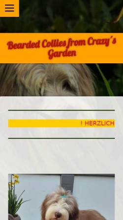 Vorschau der mobilen Webseite www.beardedcollies-crazysgarden.de, From Crazy´s Garden