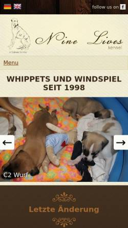 Vorschau der mobilen Webseite www.nine-lives.eu, Nine Lives Kennel