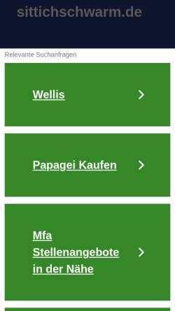 Vorschau der mobilen Webseite www.sittichschwarm.de, Info-Seite über Wellensittiche