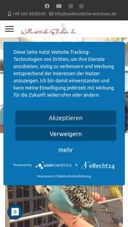 Vorschau der mobilen Webseite wellensittiche-erlichsee.de, Handzahme Wellensittiche Erlichsee