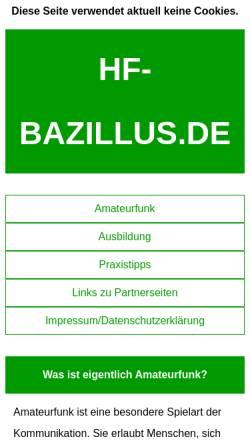 Vorschau der mobilen Webseite www.hf-bazillus.de, HF-Bazillus.de - Fast alles rund ums Funken