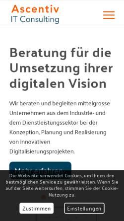 Vorschau der mobilen Webseite www.ascentiv.ch, Ascentiv - Software Development Services