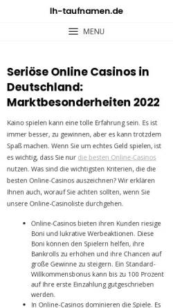 Vorschau der mobilen Webseite www.lh-taufnamen.de, Lufthansa Taufnamen