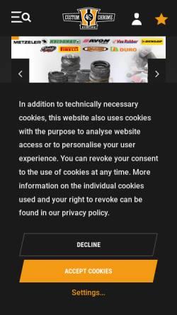 Vorschau der mobilen Webseite www.custom-chrome-europe.com, Custom Chrome Europe