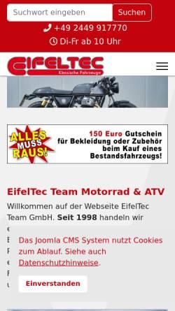 Vorschau der mobilen Webseite www.eifeltec.de, Royal Enfield Deutschland - EifelTec Team GmbH
