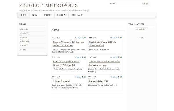 Vorschau von www.peugeot-metropolis.de, Peugeot Metropolis