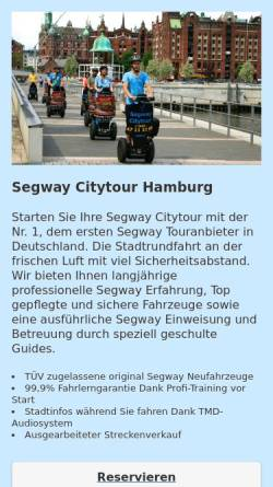 Vorschau der mobilen Webseite www.segway-citytour.de, Mindways Segway Citytour