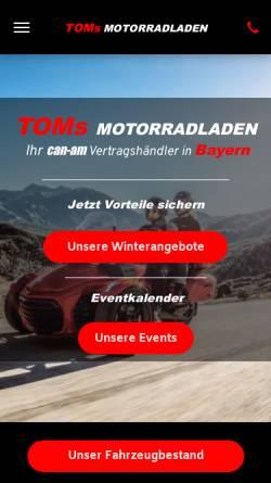 Vorschau der mobilen Webseite www.toms-motorradladen-shop.de, Tom's Motorradladen