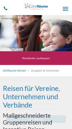 Vorschau der mobilen Webseite www.zeitraeume-reisen.de, ZeitRäume - Urlaub Studien Reisen GmbH