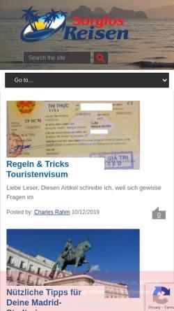 Vorschau der mobilen Webseite www.sorglosreisen.com, Sorglos Reisen [Charles Rahm]