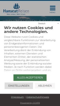 Vorschau der mobilen Webseite www.hanseatreisen.de, Hanseat Reisen GmbH