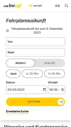 Vorschau der mobilen Webseite www.efa-bw.de, EFA-BW - Elektronische Fahrplanauskunft Baden-Württemberg